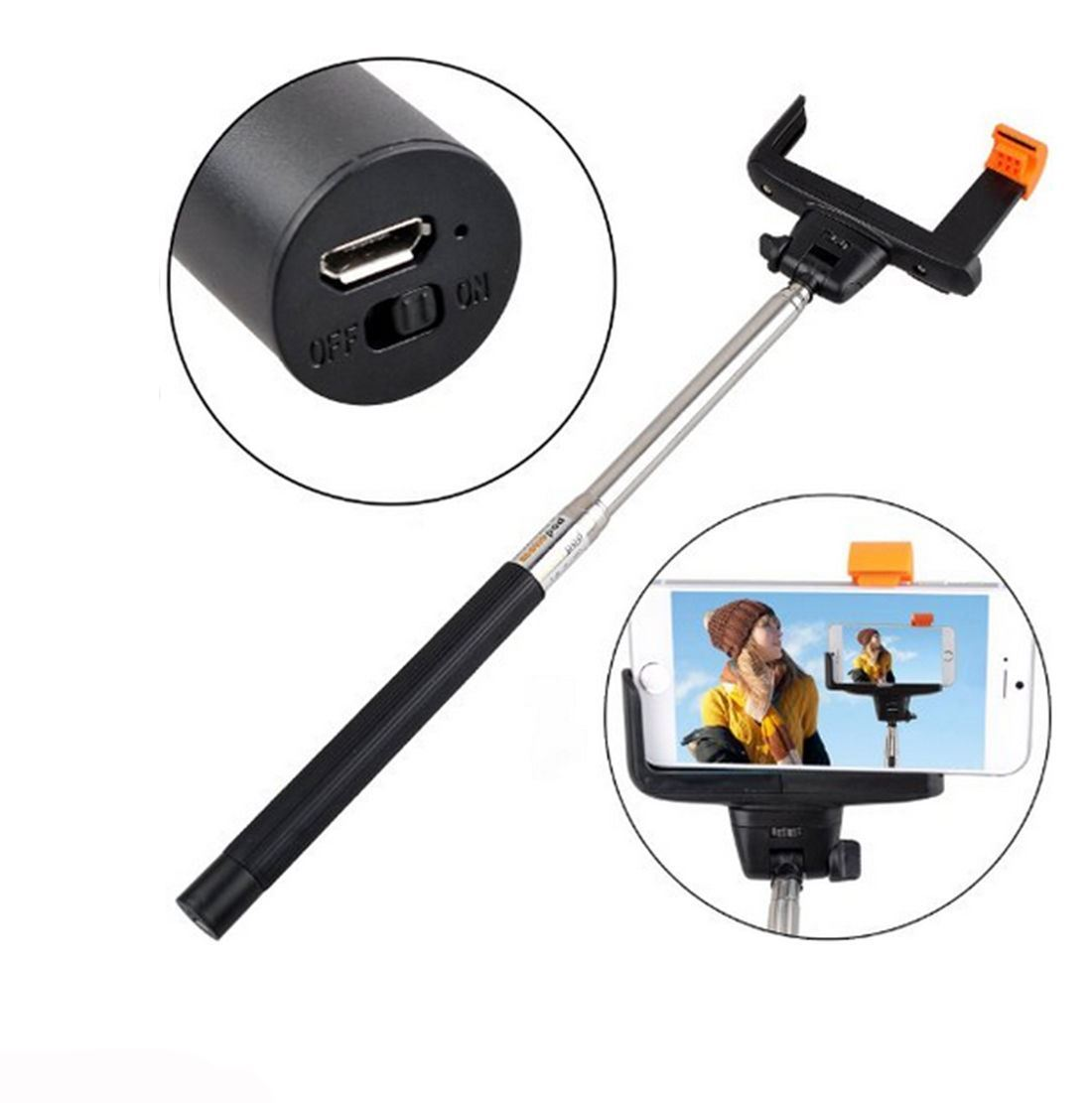 extendable selfie stick monopod with built in bluetooth remote wireless shutter ebay. Black Bedroom Furniture Sets. Home Design Ideas
