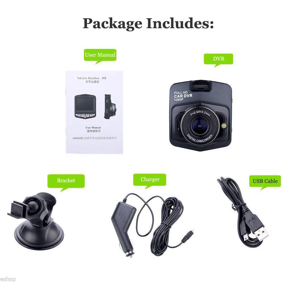1080P HD Car DVR Dash Camera Video Cam Recorder G-Sensor Night Vision ...