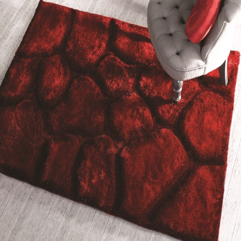 teppich shaggy 3d stein design neu modern art rot beige braun gr n flair rugs ebay. Black Bedroom Furniture Sets. Home Design Ideas