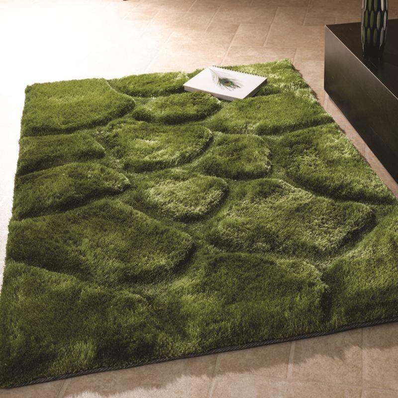 Teppich braun grün  Teppich Shaggy 3D Stein Design Neu Modern Art Rot Beige Braun Grün ...