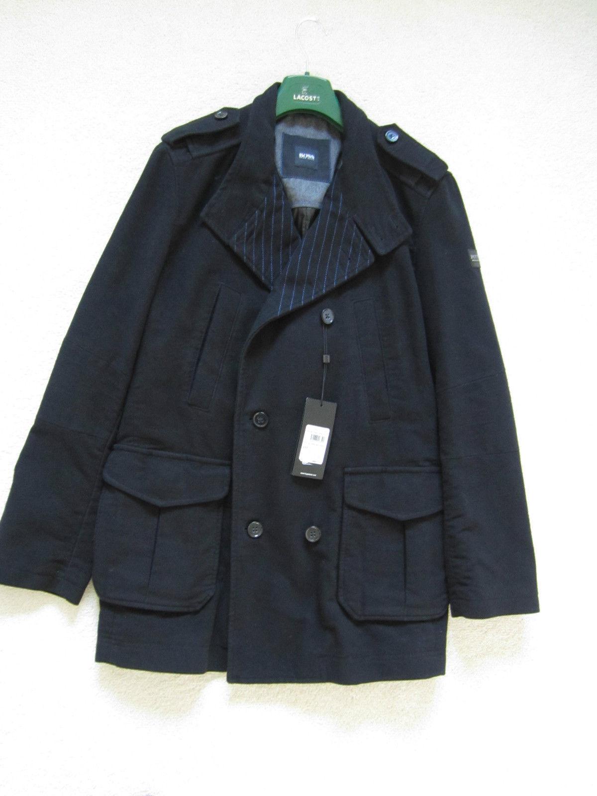 hugo boss men 39 s black pea style winter coat size 44 54. Black Bedroom Furniture Sets. Home Design Ideas