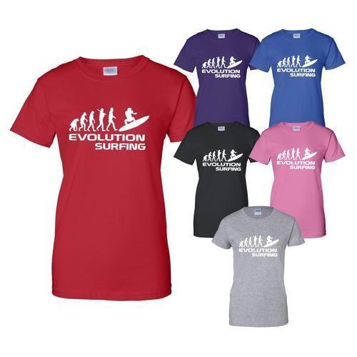Evolution Of Surfing Watersport Mens Ladies T Shirt Gift Size S-XXL