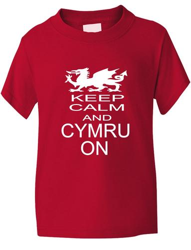 Keep Calm And Cymru On Welsh Rubgy Wales  Kids T-Shirt Age 1-13