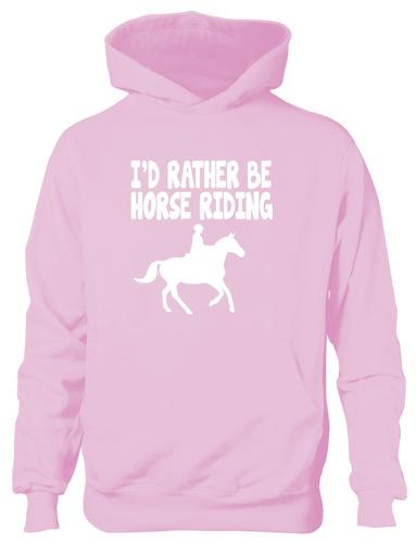 I-039-d-Rather-Be-Horse-Riding-Ponies-Boys-Girls-Kids-Hoodie-Hoody-Age-5-13