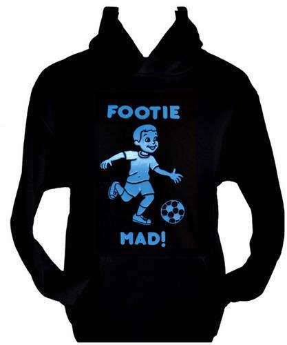 FOOTBALL//FOOTIE ~ BOYS//GIRLS//CHILDRENS~ BLACK HOODIE with BLUE AGE 5-15