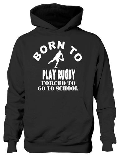 Born To Play Rugby Hoodie Girls Kids Funny Present GiftAge 5-13 Years