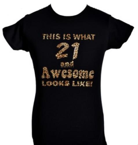 Las 21st Birthday T Shirt Great Gift Black With Animal Print