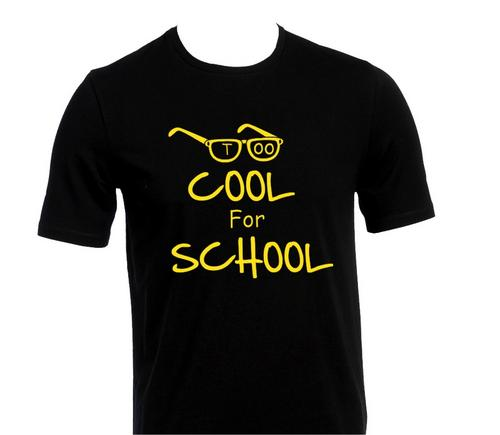 Too Cool For School Funny Kids Boys Girls Black T-Shirt Birthday ...